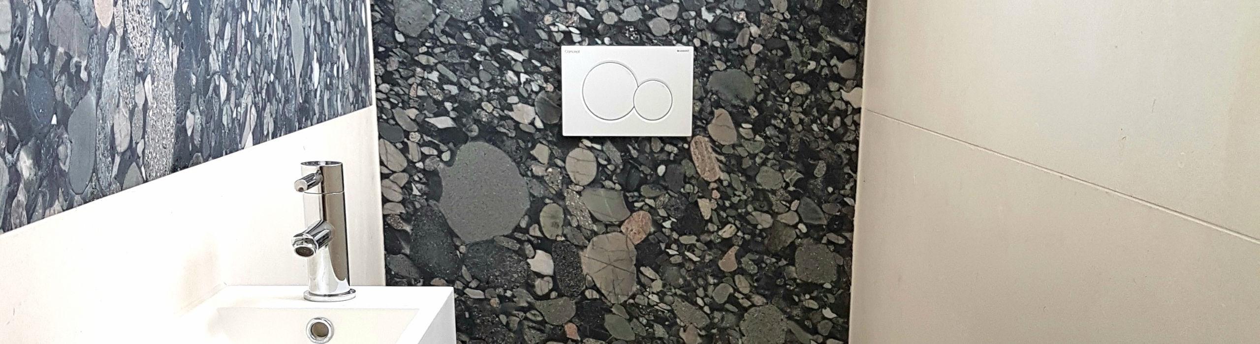 Gäste-WC mit Steel Grey- und Miros-Fliesen